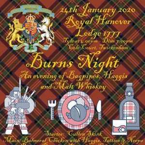 Joining Members, 3rd Degree Ceremony and a Burns Night Festive Board – 24th January 2020